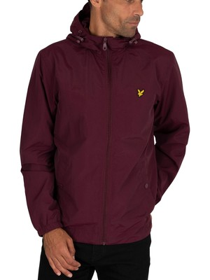 Lyle & Scott Zip Through Hooded Jacket - Burgundy