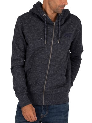 Superdry Classic Zip Hoodie - Eclipse Navy Feeder