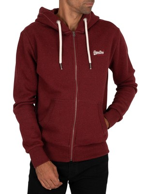 Superdry Classic Zip Hoodie - Rich Red Grit
