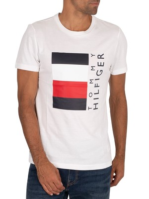 Tommy Hilfiger Corp Stripe Box T-Shirt - White
