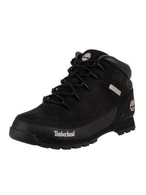 Timberland Euro Sprint Mid Hiker Leather Boots - Black Nubuck