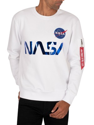 Alpha Industries NASA Reflective Sweatshirt - White/Blue