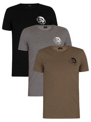 Diesel 3 Pack Randal Lounge Crew T-Shirts - Green/Grey/Black