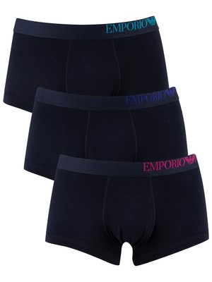 Emporio Armani 3 Pack Trunks - Marine