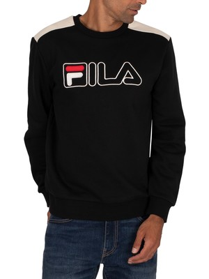 Fila Basil 2 Outline Embrd Sweatshirt - Black/Turtle Dove/Red