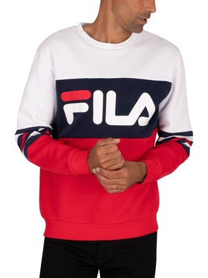 Fila Freddo Colour Block Heritage Stripe Sweatshirt - White/Red/Peacoat