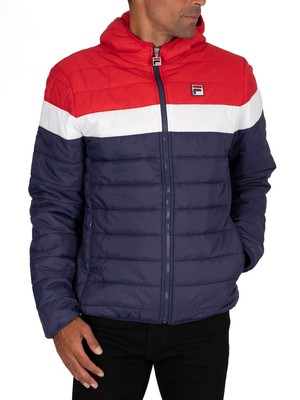 Fila Llyr Colour Blocked Puffer Jacket - Peacoat/Red/White