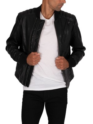 G-Star Moto Leather Jacket - Dark Black