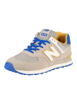 New Balance 574 Suede Trainers - Grey Oak/Cobalt Blue
