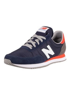 New Balance 720 Suede Trainers - Pigment/Neo Flame