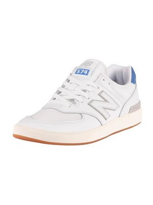 New Balance All Coasts AM574 Suede Trainers - White/Cobalt Blue