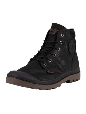 Palladium Pallabrouse Wax Canvas Boots - Black/Dark Gum