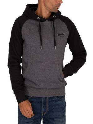 Superdry Classic Raglan Pullover Hoodie - Low Light Black Grit
