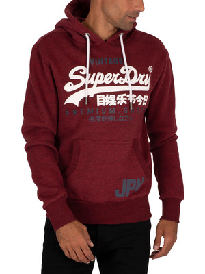 Superdry Duo Pullover Hoodie - Rich Red Grit
