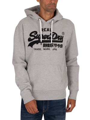 Superdry Embroidery Pullover Hoodie - Grey Marl
