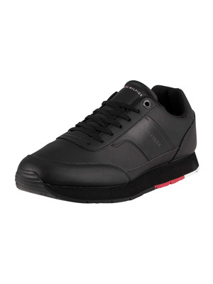 Tommy Hilfiger Corporate Leather Runner Trainers - Black