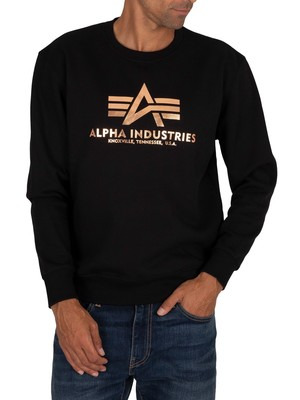Alpha Industries Foil Print Basic Sweatshirt - Black/Gold