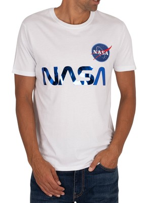 Alpha Industries NASA Reflective T-Shirt - White/Blue