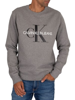 Calvin Klein Jeans Iconic Monogram Sweatshirt - Mid Grey Heather