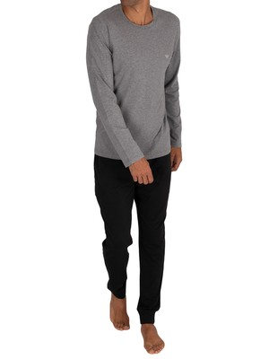 Emporio Armani Longsleeved T-Shirt Pyjama Set - Dark Grey Mel/Black