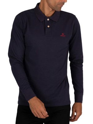 GANT Contrast Collar Pique Longsleeved Polo Shirt - Evening Blue