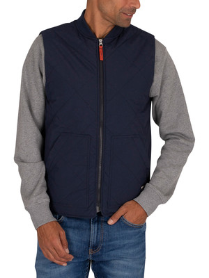 Jack & Jones Worker Quilted Gilet - Navy Blazer