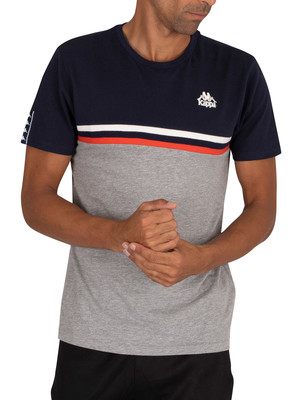 Kappa Ibis Slim T-Shirt - Blue Navy/Grey Cold Mel/Orange Reddish Natural