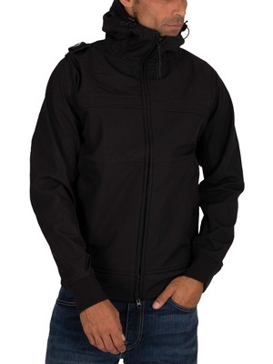 MA.STRUM Full Zip Hooded Softshell Jacket - Jet Black