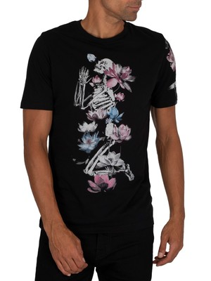 Religion Lotus Skeleton T-Shirt - Black