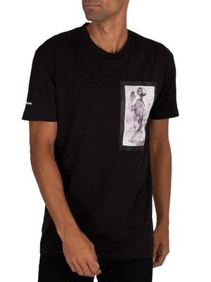 Religion Skeleton Paint Bondage T-Shirt - Black