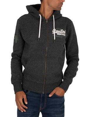 Superdry Duo Zip Hoodie - Black Snow Heather