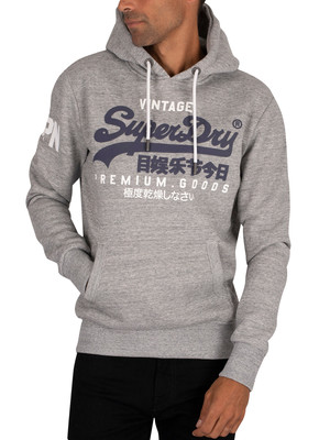 Superdry Graphic Pullover Hoodie - Grey Marl