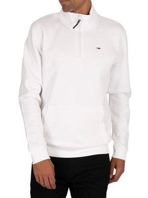 Tommy Jeans Detail Mock Neck Zip Sweatshirt - White
