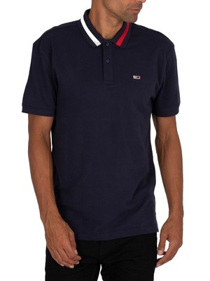 Tommy Jeans Flag Neck Polo Shirt - Twilight Navy