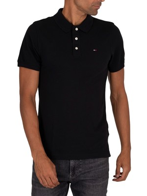 Tommy Jeans Original Fine Slim Polo Shirt - Black