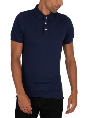 Tommy Jeans Original Fine Slim Polo Shirt - Black Iris