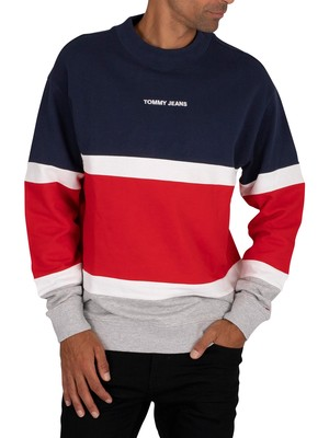 Tommy Jeans Retro Colourblock Sweatshirt - Twilight Navy
