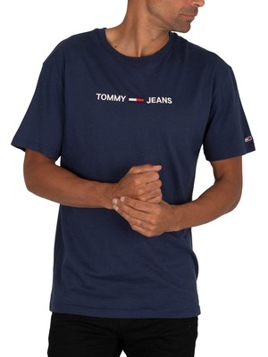 Tommy Jeans Straight Logo T-Shirt - Twilight Navy