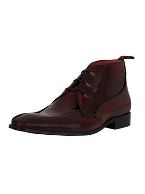 Jeffery West Brogue Leather Shoes - Burgundy/Black