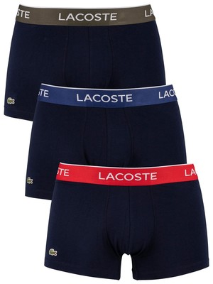 Lacoste Casual 3 Pack Trunks - Black