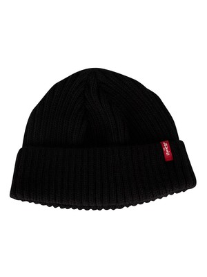 Levi's Ribbed Cropped Beanie - Regular Black