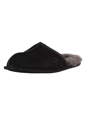 UGG Scuff Leather Slippers - Black