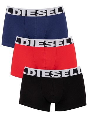 Diesel 3 Pack Shawn Basic Trunks - Black/Red/Blue