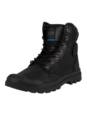 Palladium Pampa Cuff WP LUX Leather Boots - Black/Black
