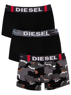 Diesel 3 Pack Cotton Stretch Trunks - Camo/Black