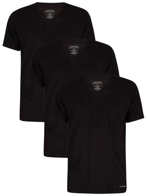 Calvin Klein Lounge 3 Pack V-Neck T-Shirts - Black