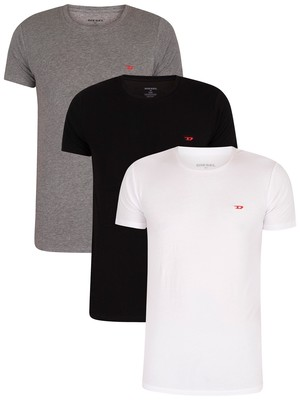 Diesel 3 Pack Randal Crew Lounge T-Shirt - White/Black/Grey