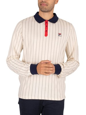 Fila BB2 Longsleeved Polo Shirt - Turt Dove/Peacoat/Red