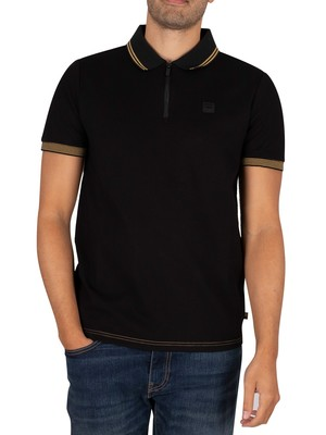 Fila Bucci Birdseye Zip Polo Shirt - Black/Golf