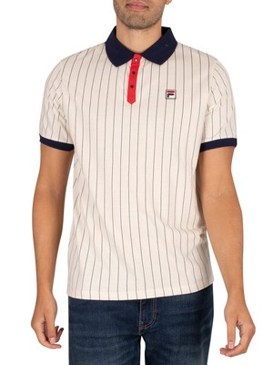 Fila Classic Vintage Striped Polo Shirt - Turt Dove/Peacoat/Red